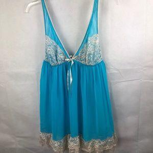 Victoria's Secret Blue Babydoll Size Large Sheer